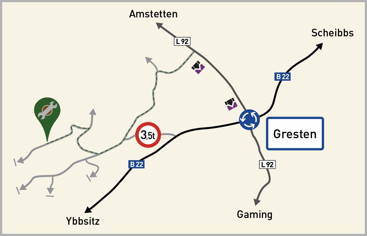 Agrartechnir Riegler / Gresten - Anfahrtsplan